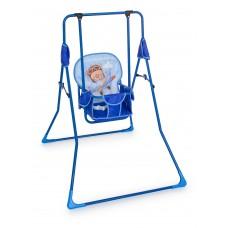 Качель детская напольная Мишка на самолете (синий)
